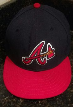 977d754bef2 Atlanta Braves MLB Dark Navy Red New Era 59FIFTY Fitted Cap On Field Hats  Size 8