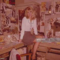 British actress Julie Christie posed in a dressing room backstage at a theatre in New Wave Cinema, Susannah York, Terence Stamp, Julie Christie, Stocking Tops, British Actresses, Nylon Stockings, Backstage, Short Dresses