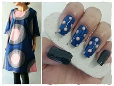 "GREY, PINK & BLUE POLKA DOTS INSPIRED IN A DRESS **FOR DETAILS FOLLOW MY BLOG OR DO ""LIKE"" TO MY FACEBOOK, would be great!! All comments are welcome!!! https://www.facebook.com/glamstylenailsbycarolina **"