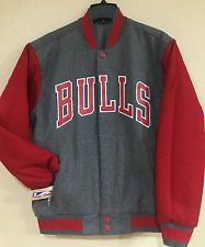 Chicago BULLS Wool Reversible Jacket with Gray/Red Embroidered logos applique