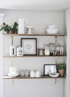 Open shelving in the