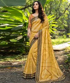 Chanderi Silk Chanderi Silk Saree, Silk Sarees, Long Cut, Yellow Fabric, Blouse Online, How To Dye Fabric, Head To Toe, Festival Wear, Color Shades