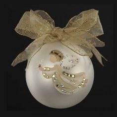 Sarabella Hand-Painted Angel with Snowflake Glass Ball Christmas Ornament 4""