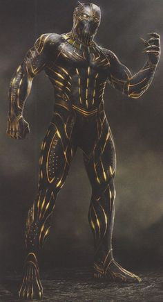 In this new batch of concept art from Black Panther, we get to see a number of different designs for Erik Killmonger's Golden Jaguar suit, including different colours and plenty of fearsome alterations. Black Panther Marvel, Black Panther Images, Black Panther Art, Marvel Dc, Marvel Comics Art, Marvel Comic Universe, Marvel Heroes, Marvel Concept Art, Black Panther Chadwick Boseman
