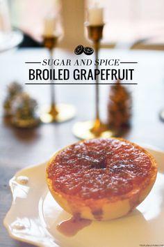 Healthier Dessert: Sugar and Spice Broiled Grapefruit #grapefruit #dessert