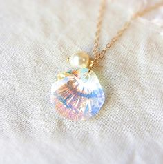 Jewel of Mermaid . Swarovski Crystal Seashell Necklace in Crystal AB . CocoroJewelry on Etsy