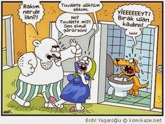- Rakım nerede lan? + Tuvalete döktüm zıkkımı... - Ne? Tuvalete mi? Sen şimdi görürsün! + Yieeeeeeyt! Bırak ulan kadınıı! Hıck!   #karikatür #mizah