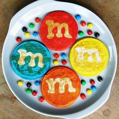 M&M pancakes.  I'll probably never make these, but too cute!