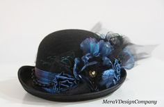Black Teal Derby Bowler Top Hat, Steampunk Top Hat, Kentucky Riding Victorian Hat, Satin flower, Chain, Peacock Feathers READY TO SHIP