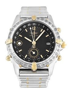Pre-owned Breitling Duograph Gents Automatic watch. 40 mm Steel & Yellow Gold case, with Black Baton dial. Distress Signal, Slide Rule, Breitling Watches, Aviation Industry, Automatic Watch, Casio Watch, Omega Watch, Accessories, Technology