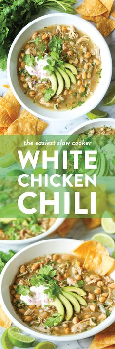 Slow Cooker White Chicken Chili - Damn Delicious The easiest crockpot recipe of your life! It's a one pot wonder – no searing, no fuss. Simply throw everything right in! Chili Recipes, Slow Cooker Recipes, Crockpot Recipes, Soup Recipes, Chicken Recipes, Cooking Recipes, Dinner Recipes, Dinner Ideas, Slow Cooking