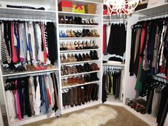 Interior, Compact Walk In Closet Shellving Layout Arrangement With White Shelving Ideas And Shoe Rack For Women: Elegant Walk In Closet Desi...