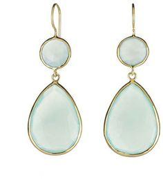 Margaret Elizabeth - 2 Stone Drops Aqua Chalcedony