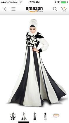 Beautiful Black and White Abaya