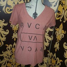 RVCA V-neck T Excellent condition.  Red and gray. RVCA Tops Tees - Short Sleeve