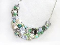 Ivory, Green - Handmade Statement Necklace - Neck Swag - Bib Necklace - Maid of Honor - Bridal - Wedding - Classic - Vintage - OOAK on Etsy, $57.00
