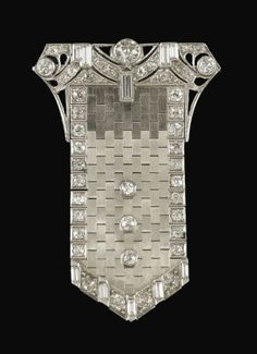 Vintage Art Deco European Cut Diamond Platinum Articulated Buckle Brooch Pendant from Adorn