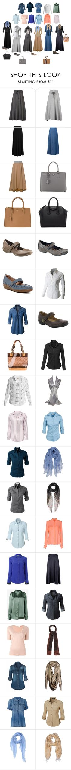 """capsule wardrobe"" by wd1371 on Polyvore featuring The Row, WithChic, FABIANA FILIPPI, Prada, Givenchy, Aetrex, Clarks, LE3NO, taos Footwear and Louis Vuitton"