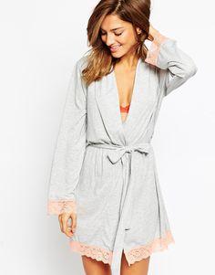 ASOS Lace Trim Long Sleeve Jersey Robe