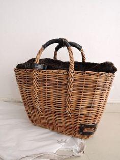ebagos エバゴス Sheep-Wool-Sweater 紅籐×ファーかごバッグ
