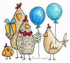 From the Flock - Birthday Images - Birthday - Rubber Stamps - Shop Chickens And Roosters, Pet Chickens, Birthday Images, Birthday Cards, Art Fantaisiste, Art Carte, Chicken Art, Chicken Drawing, Envelope Art