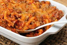 This saucy pasta and ground beef casserole is loaded with flavor, with taco seasoning and nacho cheese soup.