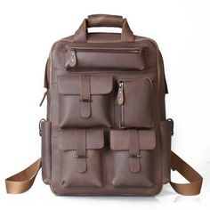 The Multi pockets coffee Leather Backpack is a well designed and unique backpack! It perfect for school, travel, hiking, camping and so much more!  Features: Top zipper closure; The Lined main compartment containing a 16in laptop sleeve, a ipad sleeve, a backwall zipper pocket, two pen pouch a...