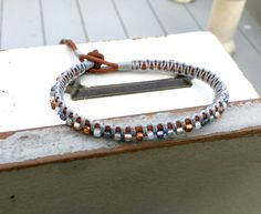 Copper Navy Gray Top Beaded Macrame Woven by TowerCreationsbyTC