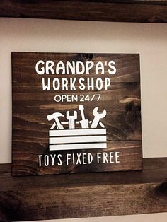 Grandpas Workshop // Wooden Sign for Grandpa Daddy Papaw // Father's Day Gift // Gift for Grandpa Birthday Christmas // Fathers Day 15 x 15 OFF our gift ideas from our store. Gift for him, gift for her, gift for mom, gift for dad and so on. Diy Father's Day Gifts For Grandpa, Grandpa Birthday Gifts, Fathers Day Presents, Fathers Day Crafts, Gifts For Kids, Daddy Gifts, Gifts For Grandpa Christmas, Gifts For Fathers Day, Christmas Presents
