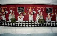 Fat Chef Kitchen Curtain Tiers Valance Set Bistro Italian Interior Decor New | eBay