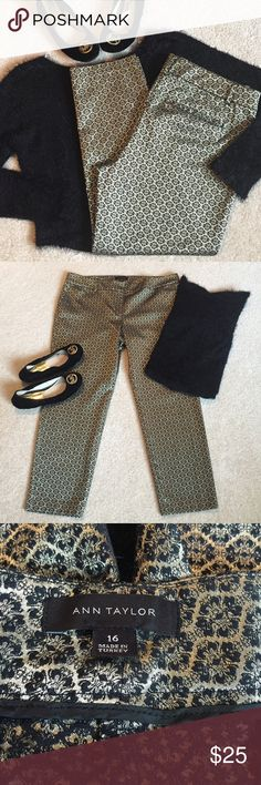 "🌷Simply Gorgeous Black & Gold Jacquard Pants Measurements taken flat and approximate within millimeters   Waist: "" Rise: "" Inseam (crotch to hem): "" Leg Opening: "" across  Condition: Excellent, like new. Ann Taylor Pants Ankle & Cropped"