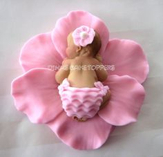 Baby Shower First Birthday FONDANT BABY Flower  Cake Topper Baptism Christening  favors decorations. $22.00, via Etsy.