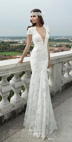 wholesale short sleeves lace wedding dresses