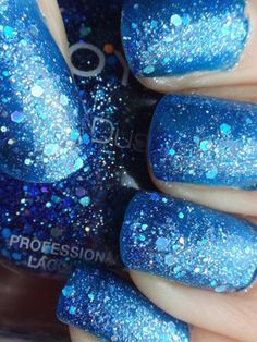 """Zoya """"Nori"""" - a bright medium blue jelly with multiple sizes of blue and silver holographic hex glitter. This polish is supposedly textured, but it doesn't really seem very textured to me. Glam Nails, Fancy Nails, Nail Manicure, Manicures, Nail Polish Sale, Fabulous Nails, Blue Glitter, Spring Nails, Nails Inspiration"""