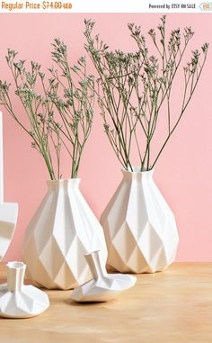 Geometrische Vase weiße Vase aus Keramik von StudioArmadillo