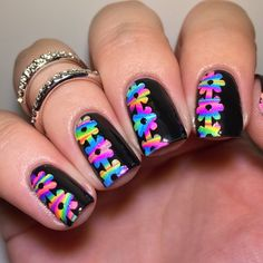 Multicolor Neon Watermarble Flower Nails