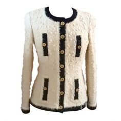 Chanel Ivory Thick Wool Boucle Black Trim Jacket Mega Buttons | From a collection of rare vintage jackets at https://www.1stdibs.com/fashion/clothing/jackets/