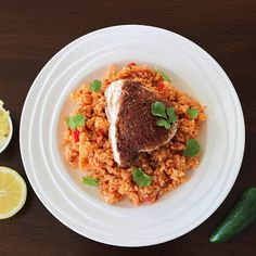 Mexican Chicken and Rice. Mexican Style Baked Chicken Breasts and Spicy Rice Spicy Mexican Rice, Mexican Chicken And Rice, Chicken And Rice Dishes, Spicy Rice, Meals To Make With Chicken, Recipe Using Chicken, Chicken Recipes, Baked Chicken Breast, Chicken Breasts