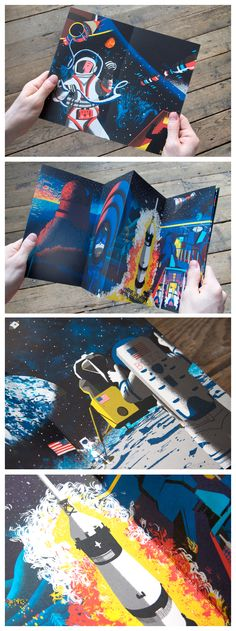 'Space Race', Tom Clohosy Cole's beautifully illustrated concertina. Children's Book Illustration, Graphic Design Illustration, Illustrations, Graphic Design Print, Graphic Design Inspiration, Concertina Book, Book Projects, Handmade Books, Book Layout