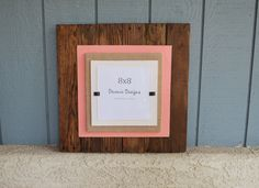 20x20 Plank Reclaimed Wood Picture Frames - Holds 8x8 photo - Coral Bead