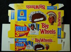 [ 1977 Hostess BIG WHEELS Box -- Vintage Snack Cakes Box - Chief Big Wheels ]