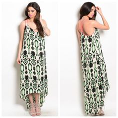 1 HOUR SALE❗️Ivory Green Coral Dress This maxi dress features tribal print all over and contrasted straps. Hi low hem. No trades! Bundle & save! Preorder before it sells out! Boutique Dresses Maxi
