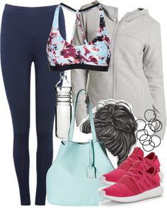 Lydia Inspired Work Out Outfit with Blue Leggings by veterization featuring a glass stopper PrAna activewear jacket / Under Armour logo sportswear, $44 / M&Co blue pants, $18 / Adidas Originals sneaker, $89 / Kenneth Cole Reaction man bag / H M...