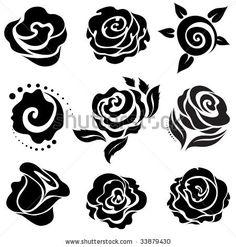 Black rose flower design elements stock vector 33879430 shutterstock