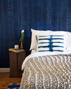 City Scape Wallpaper in Night from the Shibori Collection by Milton & King Paint for sofa in breakfast room? Shibori, Indigo, Inspirational Wallpapers, Burke Decor, Wall Wallpaper, Cityscape Wallpaper, Wallpaper Ideas, Designer Wallpaper, Decoration