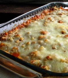 Recipe For Easy Chicken Parmesan Casserole - A healthier Chicken Parmesan because there's no frying involved and instead of all that breading there's just a light layering of crushed garlic croutons.