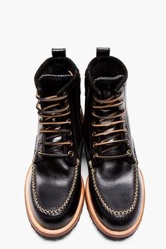 DSQUARED2 Black Leather Moccasin Stitched Lucida Boots