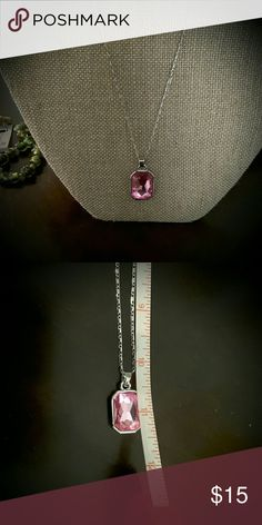 Beautiful pink crystal pendant Very simple and elegant.  About 11 to 12 inches, silver chain Jewelry Necklaces