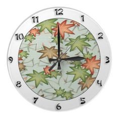 Autumn leaves japanese style wall clock with full set of numbers from Zazzle, $24.95. Created by YANKAdesigns.