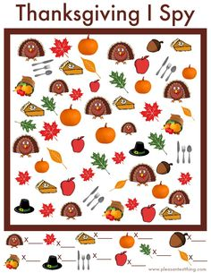 I Spy Game – Free Printable Free printable game for Thanksgiving - use this Thanksgiving I Spy Game while the food is cooking!Free printable game for Thanksgiving - use this Thanksgiving I Spy Game while the food is cooking! Thanksgiving Coloring Pages, Thanksgiving Preschool, Thanksgiving Parties, Thanksgiving Ideas, Thanksgiving Worksheets, Fall Preschool, Art Therapy Activities, Holiday Activities, Holiday Crafts